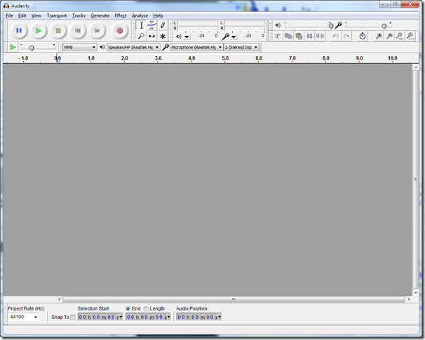 Screen shot of Audacity window